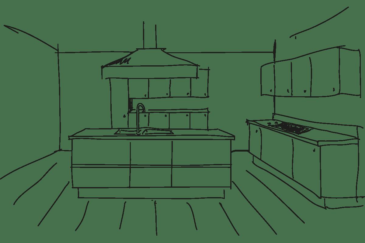 sketch of interior kitchen