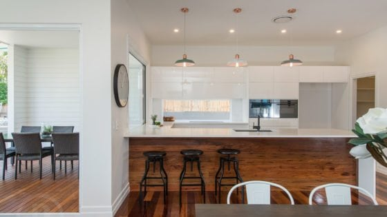 kitchen with timber flooring and white walls