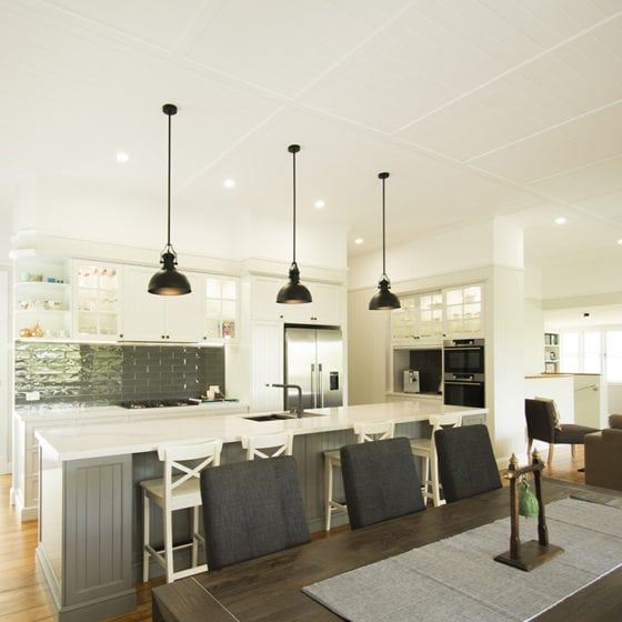 Kitchen with grey black and white shades