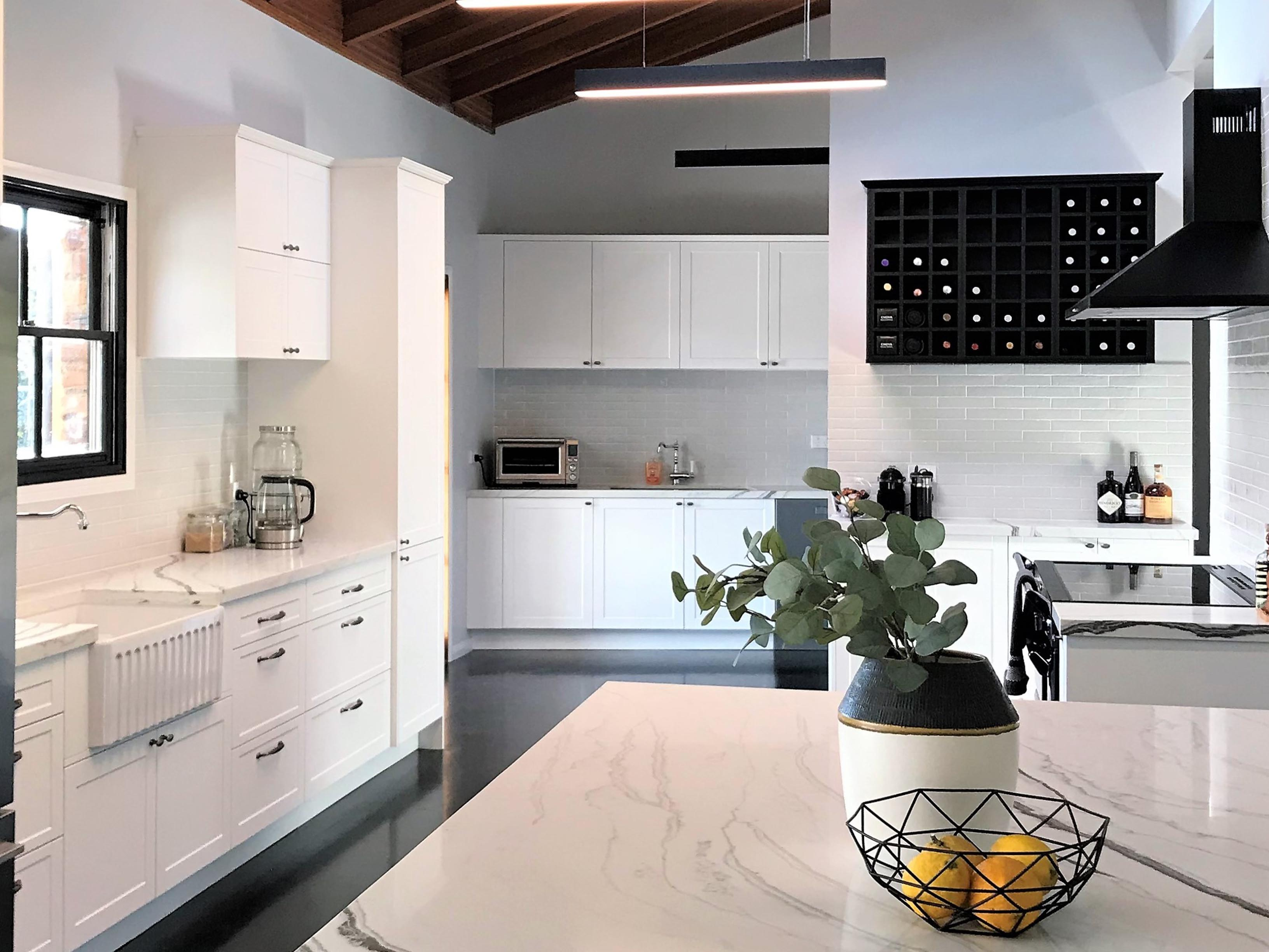 amazing builds open white kitchen with marble benchtops