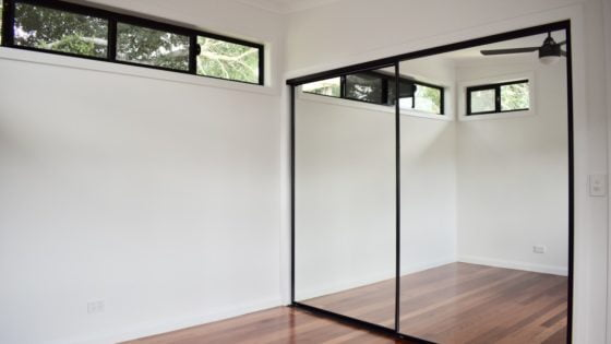 amazing builds granny flat bedroom mirrored wardrobe